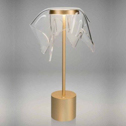 Touch LED-lampa i färgad metall och transparent plexiglas - Tagalong