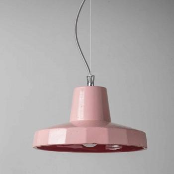 Suspenderad lampa 30 cm, i mässing och toskansk majolica, Rossi Toscot