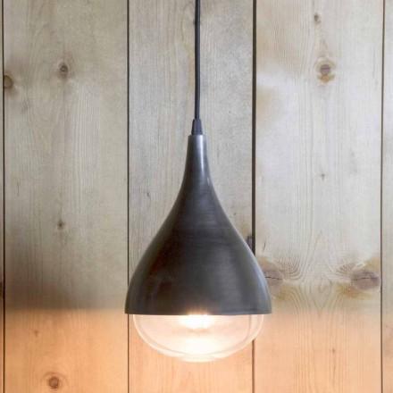 Handgjord hängande lampa i aluminium och svart bomull tillverkad i Italien - Sissa
