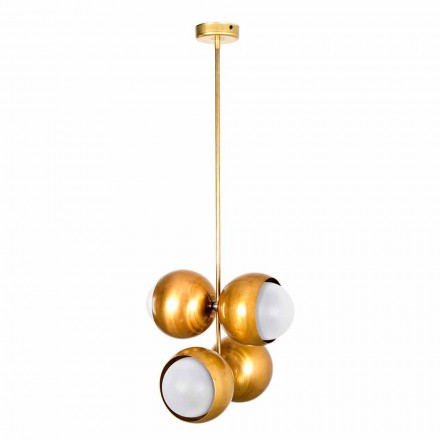 Handgjord hängande lampa i naturligt mässing och glas tillverkad i Italien - Gandia