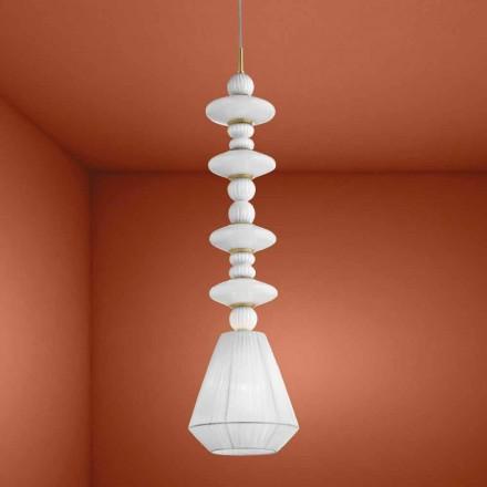 Handgjord hängande lampa i venetiansk glas, tillverkad i Italien - Amilia