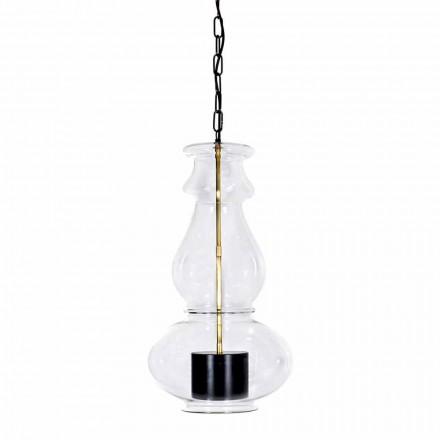 Handgjord hängande lampa i blåst glas och mässing tillverkad i Italien - Vitrea
