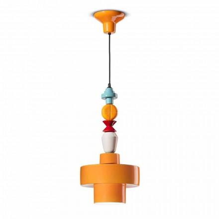 Hängande lampa Gul eller grön keramik Tillverkad i Italien Design - Ferroluce Lariat