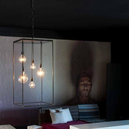 Hängande lampa med handgjord järnkonstruktion tillverkad i Italien - Cosma