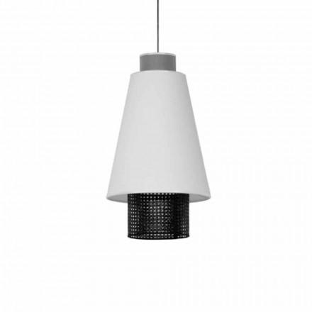 Modern hängande lampa i tyg och rotting tillverkad i Italien - sjöman