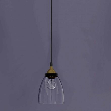 Designhängslampa i metall och transparent glas tillverkad i Italien - Clizia
