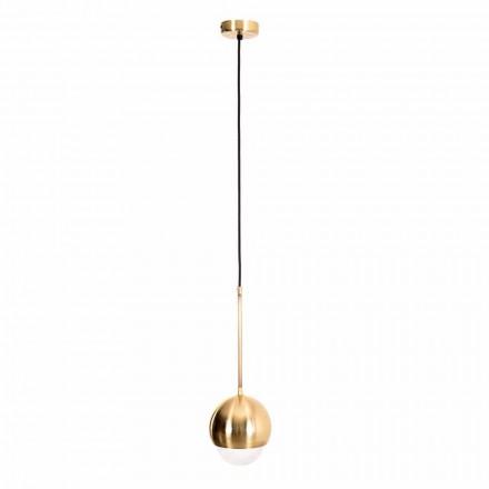 Handgjord hänglampa i mässing och dekorativt glas tillverkat i Italien - Gandia