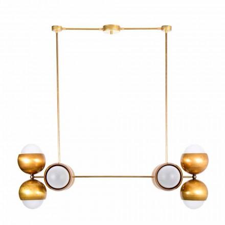 Handgjord hänglampa i mässing och satänglas tillverkad i Italien - Gandia