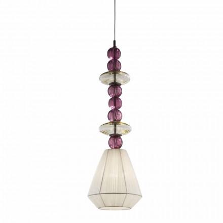 Handgjord hängande lampa i Venedigglas, tillverkad i Italien - Amilia