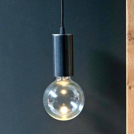 Hängande lampa i järn och glas med bomullskabel tillverkad i Italien - Ampolla