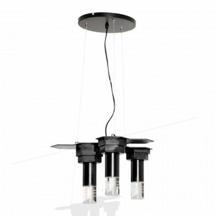 Modern hängande lampa i matt svart metall och plexiglas Tillverkad i Italien - Dalbo