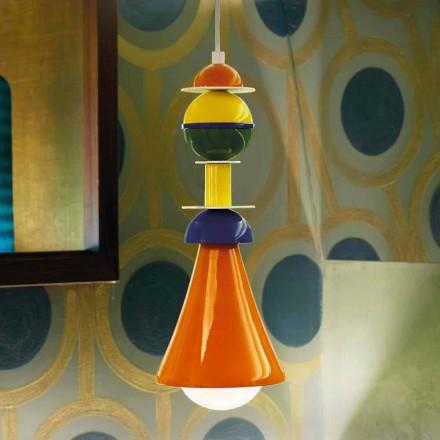 Modern mångfärgad hängande lampa Slide Otello Hängande, tillverkad i Italien
