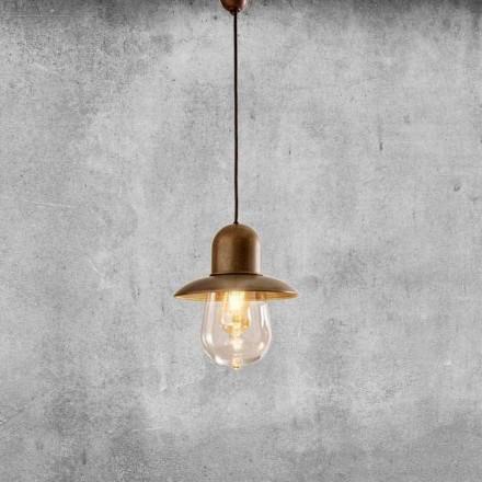 Vintage hängande lampa med mässingsreflektor - Guinguette Aldo Bernardi