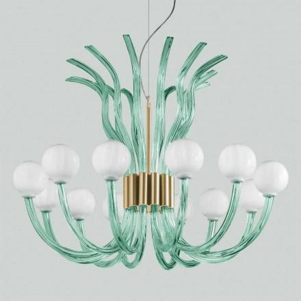 Ljuskrona för hantverkare med 12 lampor från Venedig, tillverkad i Italien - Antonietta