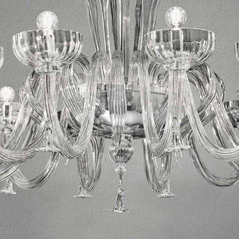 12 ljus handgjord ljuskrona i venetiansk glas, tillverkad i Italien - Regina