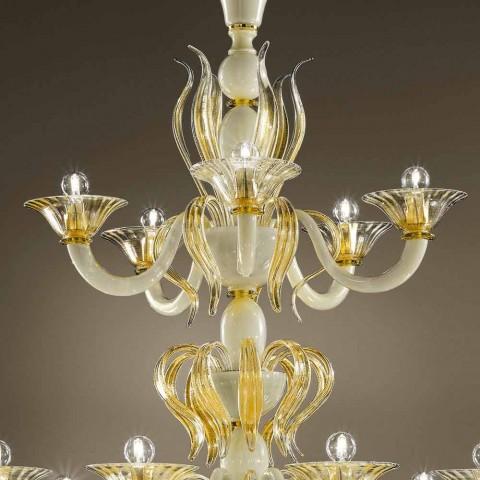 15 ljuskronor i vitt och guld venetianskt glas, tillverkad i Italien - Agustina