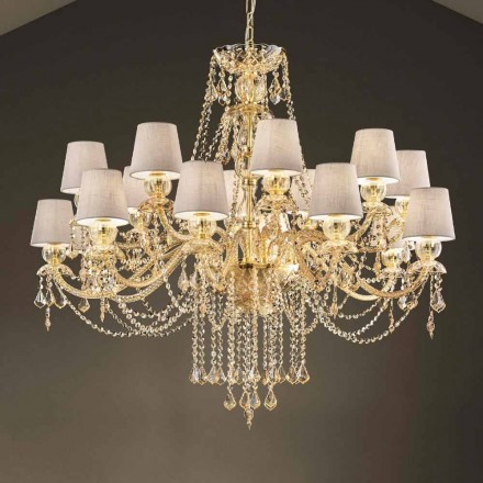 Ljuskrona med 16 lampor handgjorda i Venedigglas, tillverkad i Italien - Milagros
