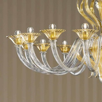 16 ljus handgjord ljuskrona i venetiansk glas, tillverkad i Italien - Agustina