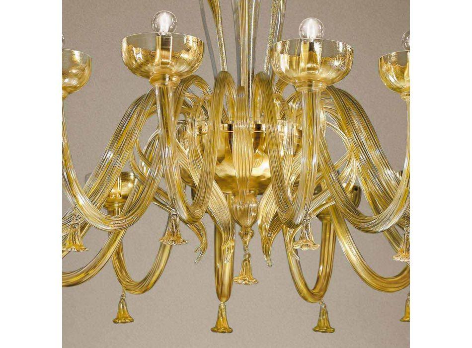 16 Ljuskrona i venetianskt glas och guld, handgjord i Italien - Regina