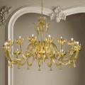 16 ljus venetiansk glas- och guldkrona, handgjord i Italien - Regina