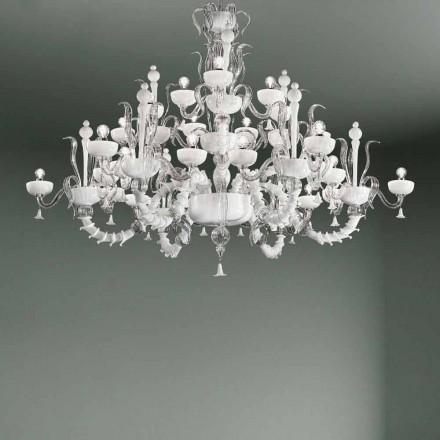 Ljuskrona med 27 lampor i vitt Venedigglas, handgjord i Italien - Regina