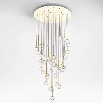 40 ljuskrona i polerat mässing och glas tillverkad i Italien, lyx - Selene