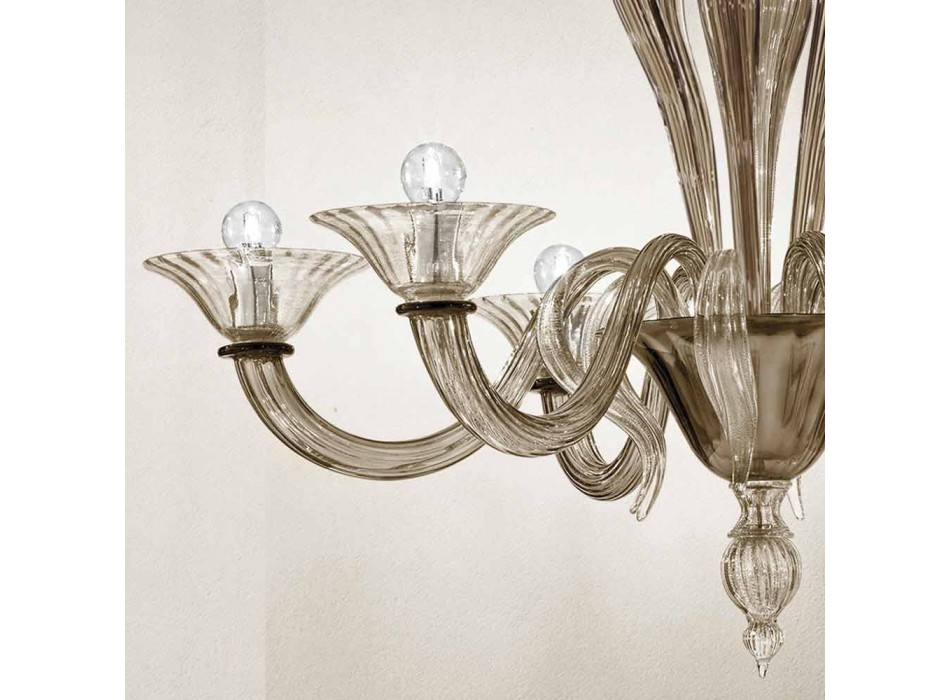 Artisan 6-ljuskrona i rökt venetianskt glas tillverkat i Italien - Agustina