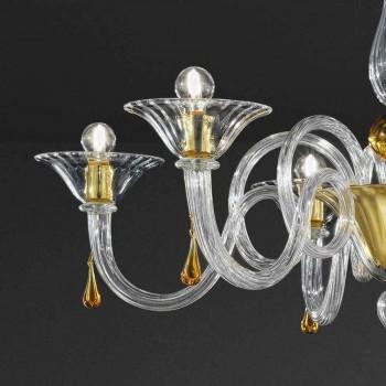 6 ljus handgjord ljuskrona i venetiansk glas, tillverkad i Italien - Margherita
