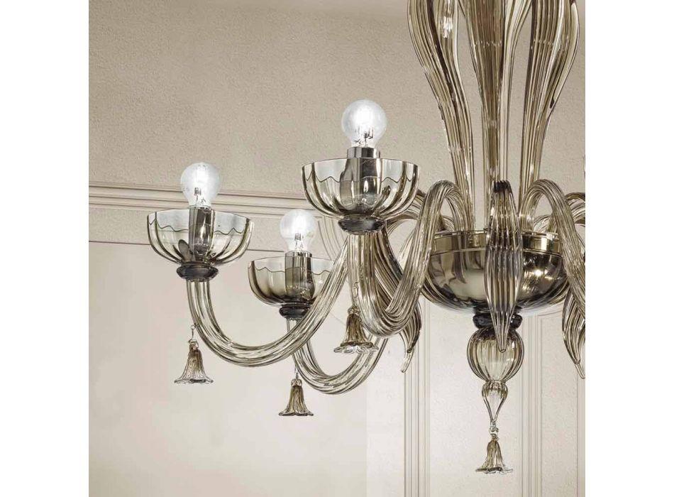 6 Ljus ljuskrona i venetiansk glas, handgjord i Italien - Regina