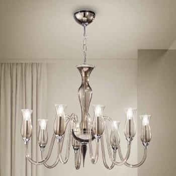 Artisan 8-Light ljuskrona i rökt venetianskt glas tillverkat i Italien - Vittoria