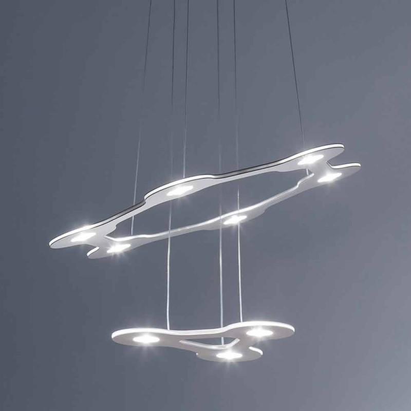 9 ljuskrona i finlackerad aluminium tillverkad i Italien - blixt