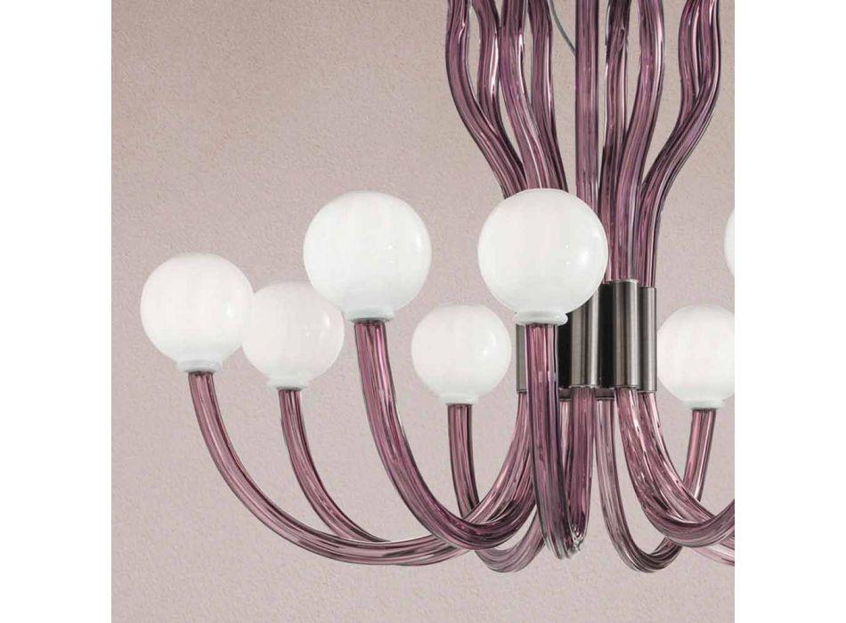 9 Ljus ljuskrona med venetiansk ametistglas tillverkad i Italien - Antonietta