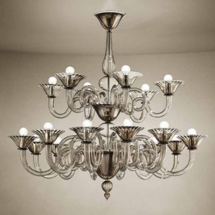 Hantverkskrona med 18 lampor i Venedigglas, tillverkad i Italien - Margherita