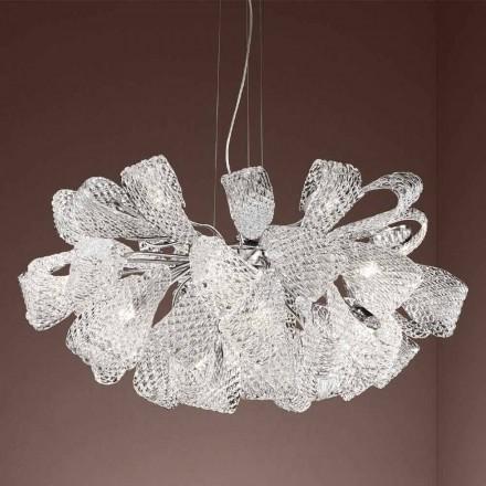 Hantverkskrona med 21 lampor i venetianskt glas, tillverkad i Italien - Diamonique