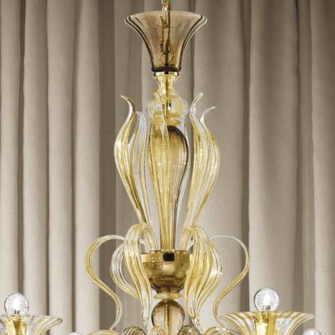 Artisan 6 ljus venetiansk glaskrona tillverkad i Italien - Agustina