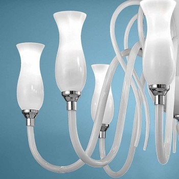 Artisan 8 Ljus ljuskrona med venetiansk glas, tillverkad i Italien - Vittoria