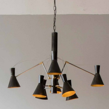 Handgjord ljuskrona med järn- och aluminiumkonstruktion Tillverkad i Italien - Selina