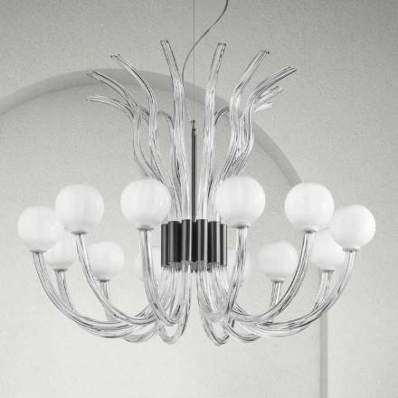 Hantverkskrona med 12 lampor i venetianskt glas, tillverkad i Italien - Antonietta