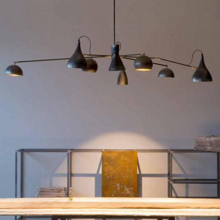 Handgjord ljuskrona av järn med aluminiumskärmar tillverkad i Italien - Verino