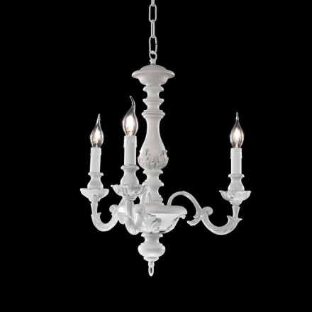 Vit Chandelier med 3 lampor i trä Lira, Made in Italy
