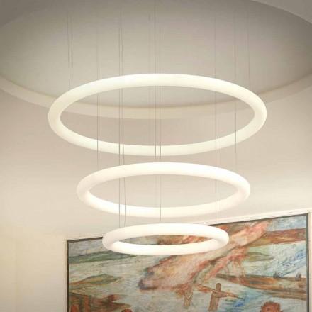 Vit LED-ljuskrona med metallrosett Tillverkad i Italien - Slide Giotto