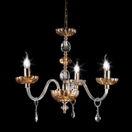 klassiska ljuskrona i kristall och glas 3 lampor Belle, tillverkad i Italien