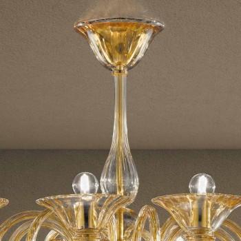 12 ljus handgjord ljuskrona i venetiansk glas tillverkad i Italien - Margherita