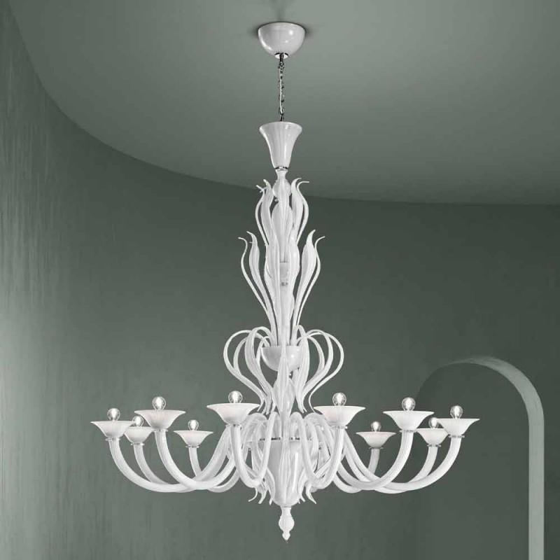 12 ljus Venedig glaskrona handgjord i Italien - Agustina