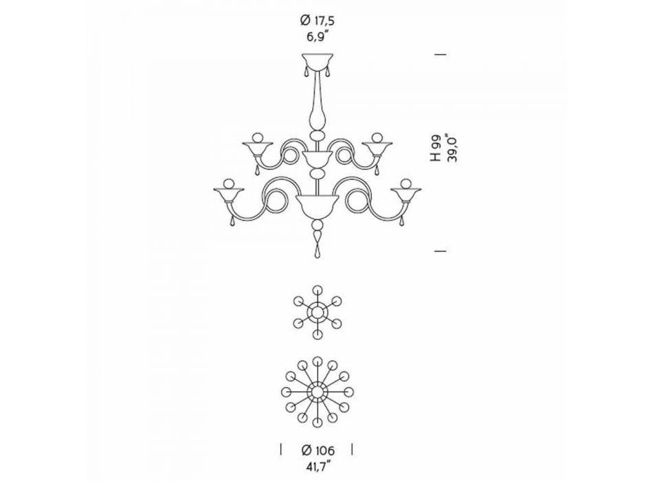 18 ljus ljuskrona i venetiansk glas handgjord i Italien - Margherita