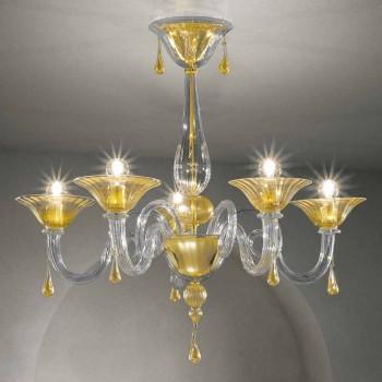 5 ljus Venedig glaskrona, handgjord i Italien - Margherita