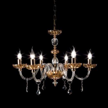Ljuskrona klassisk design med sex glas ljus och glas Fine