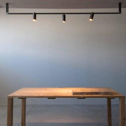 Ljuskrona med modern design handgjord i svart järn tillverkad i Italien - Pamplona