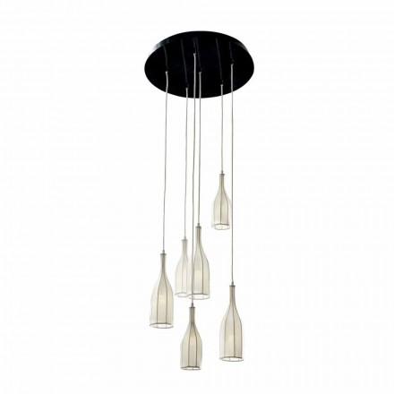 Design ljuskrona med 6 lampskärmar Grilli Mathusalem gjord i Italien