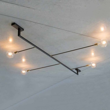 Handgjord designkrona i järn med 4 lampor tillverkad i Italien - Anima